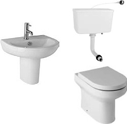 Hydra Revive Suite, Back To Wall Pan. Cistern, Seat, Basin & Semi Pedestal.