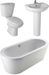 Hydra Vision Bathroom Suite With 1700x800mm Freestanding Bath.