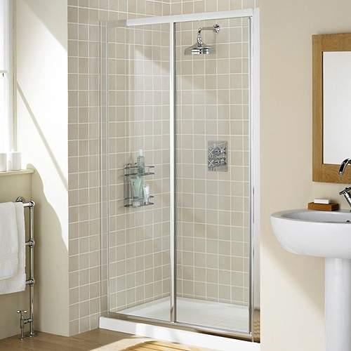 Lakes Classic 1000mm Framed Slider Shower Door (Silver).