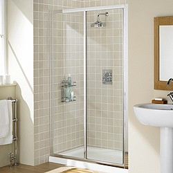 Lakes Classic 1200mm Framed Slider Shower Door (Silver).
