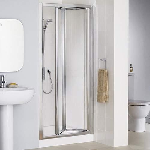 Lakes Classic 800mm Framed Bi-Fold Shower Door (Silver).