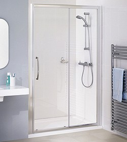 Lakes Classic 1100mm Semi-Frameless Slider Shower Door (Silver).