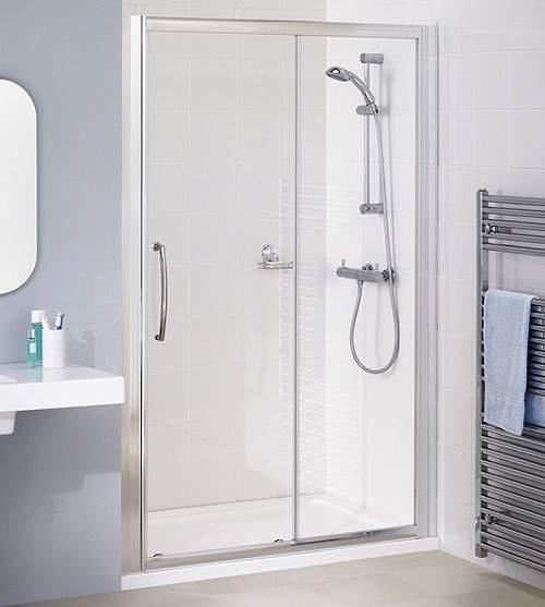 Lakes Classic 1200mm Semi-Frameless Slider Shower Door (Silver).