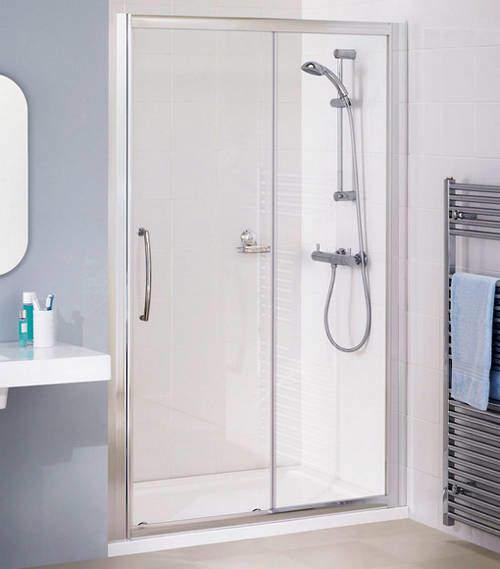 Lakes Classic 1300mm Semi-Frameless Slider Shower Door (Silver).