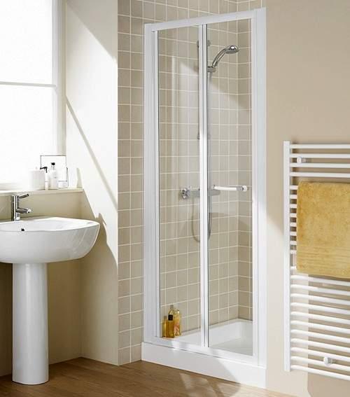 Lakes Classic 800mm Semi-Frameless Bi-Fold Shower Door (White).