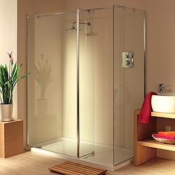 Lakes Italia Frameless Walk In Shower Enclosure. Left Handed. 1400x800mm.