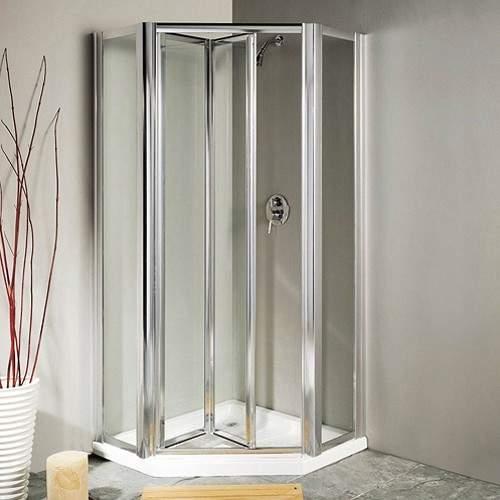 Lakes Classic Pentagon Framed Shower Enclosure, Bi-Fold Door & Tray (Silver).