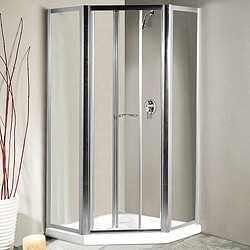 Lakes Classic Pentagon Semi-Frameless Enclosure, Bi-Fold Door & Tray (Silver).