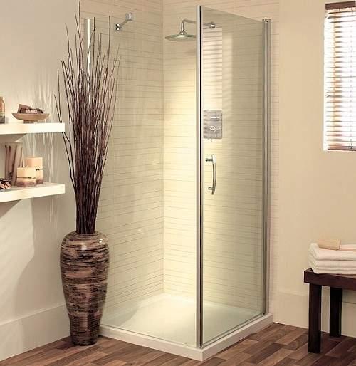 Lakes Italia 700mm Square Shower Enclosure, Pivot Door & Tray (Silver).