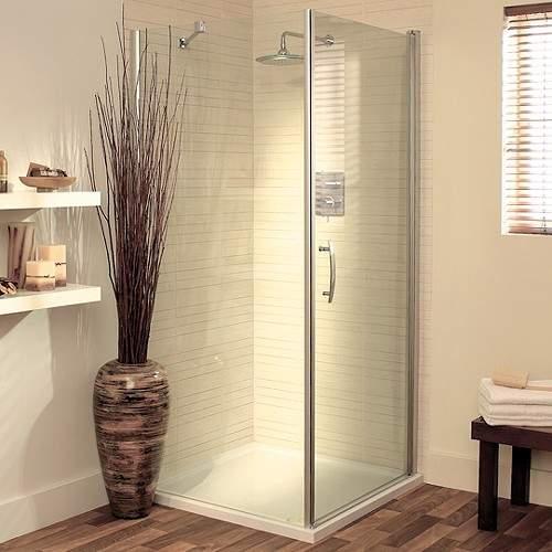 Lakes Italia 900mm Square Shower Enclosure, Pivot Door & Tray (Silver).
