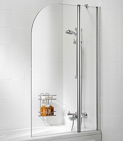 Lakes Classic 975x1400 Curved Bath Screen With Fixed Panel (Silver).