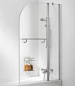 Lakes Classic 975x1400 Curved Bath Screen With Fixed Panel & Towel Rail.