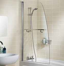 Lakes Classic 860x1400 Sculpted Bath Screen With Towel Rail (Silver).