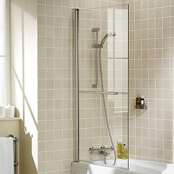 Lakes Classic 800x1500 Square Bath Screen With Towel Rail (Silver).