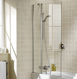 Lakes Classic 944x1500 Square Bath Screen With Fixed Panel (Silver).