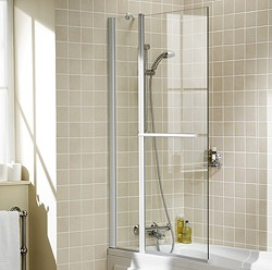 Lakes Classic 944x1500 Square Bath Screen With Fixed Panel & Towel Rail.