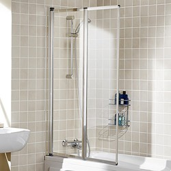 Lakes Classic 950x1400 Framed Bath Screen With 2 Folding Panels (Silver).