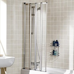 Lakes Classic 730x1400 Framed Bath Screen With 4 Folding Panels (Silver).