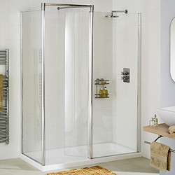 Lakes Classic Left Hand 1200x700 Walk In Shower Enclosure & Tray (Silver).