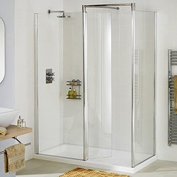 Lakes Classic Right Hand 1400x800 Walk In Shower Enclosure & Tray (Silver).