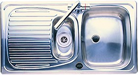 Leisure Sinks Euroline 1.5 bowl stainless steel kitchen sink. Reversible.