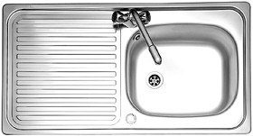 Leisure Sinks Linear 1.0 bowl stainless steel kitchen sink. Reversible. Waste kit supplied