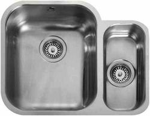 Rangemaster Atlantic Undermount 1.5 Bowl Steel Sink, Right Hand Bowl.