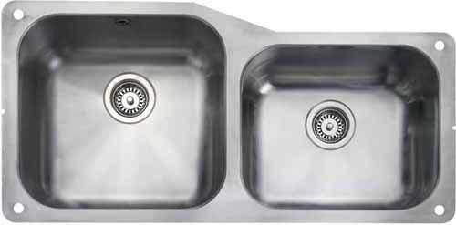 Rangemaster Atlantic Undermount 1.75 Bowl Steel Sink, Right Hand Bowl.