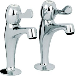 Mayfair Kitchen Alpha Lever High Neck Kitchen Pillar Taps (Pair, Chrome).