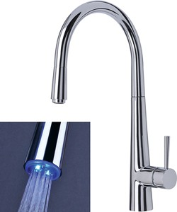 Mayfair Kitchen Palazzo Glo Kitchen Tap, Pull Out LED Rinser (Chrome).