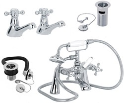 Mayfair Ritz Basin & Bath Shower Mixer Tap Pack With Wastes.