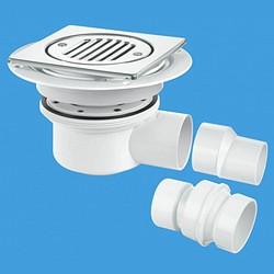 McAlpine Gullies 50mm Shower Trap Gully For Tiled Or Stone Flooring (2 Piece).
