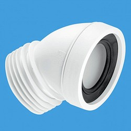 "McAlpine Plumbing WC 4""/110mm 45 Degree Toilet Pan Connector."