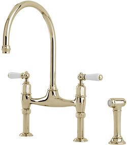 Perrin & Rowe Ionian Kitchen Tap With White Levers & Rinser (Gold).
