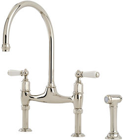 Perrin & Rowe Ionian Kitchen Tap With White Levers & Rinser (Nickel).