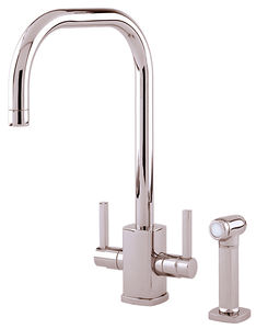 Perrin & Rowe Rubiq Kitchen Tap With Rinser & U Spout (Polished Nickel).