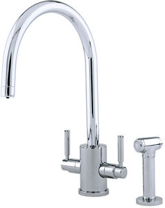 Perrin & Rowe Orbiq Kitchen Tap With Rinser & C Spout (Pewter).