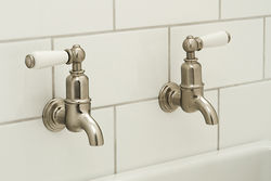 Perrin & Rowe Mayan Wall Mounted Bib Taps With Lever Handles (Pewter).