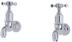 Perrin & Rowe Mayan Wall Mounted Bib Taps With X-Head Handles (Chrome).