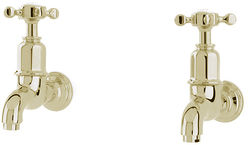 Perrin & Rowe Mayan Wall Mounted Bib Taps With X-Head Handles (Gold).