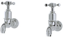 Perrin & Rowe Mayan Wall Mounted Bib Taps With X-Head Handles (Pewter).
