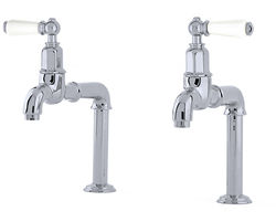 Perrin & Rowe Mayan Deck Mounted Bib Taps With Lever Handles (Chrome).
