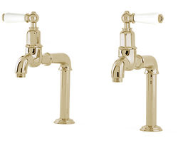 Perrin & Rowe Mayan Deck Mounted Bib Taps With Lever Handles (Gold).