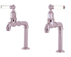 Perrin & Rowe Mayan Deck Mounted Bib Taps With Lever Handles (Nickel).