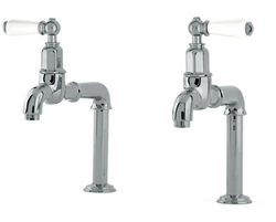 Perrin & Rowe Mayan Deck Mounted Bib Taps With Lever Handles (Pewter).