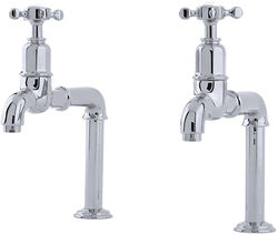 Perrin & Rowe Mayan Deck Mounted Bib Taps With X-Head Handles (Chrome).