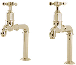 Perrin & Rowe Mayan Deck Mounted Bib Taps With X-Head Handles (Gold).
