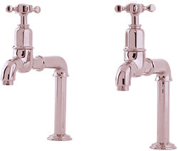 Perrin & Rowe Mayan Deck Mounted Bib Taps With X-Head Handles (Nickel).