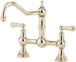 Perrin & Rowe Provence Bridge Kitchen Tap With Lever Handles (Gold).