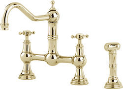 Perrin & Rowe Provence Kitchen Tap With Rinser & X-Head Handles (Gold).